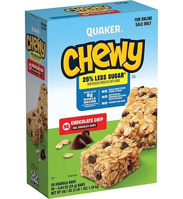 Purchase Quaker Chewy 25% Less Sugar Granola Bars, Chocolate Chip (58 Bars) at Amazon.com