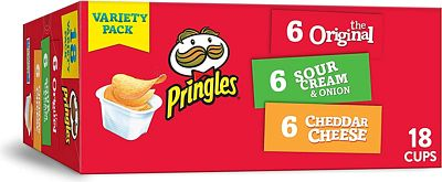 Purchase Pringles Snack Stacks Potato Crisps Chips, Flavored Variety Pack, Original, Cheddar Cheese, and Sour Cream and Onion, 12.9 oz (18 Cups) at Amazon.com