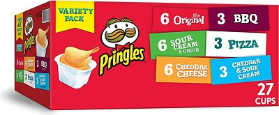 Purchase Pringles Snack Stacks Potato Crisps Chips, Flavored Variety Pack 19.5 oz (27 Cups) at Amazon.com