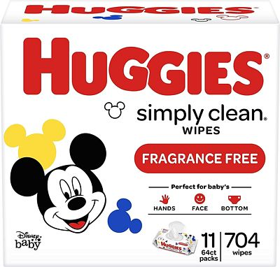 Purchase Huggies Simply Clean Unscented Baby Wipes, 11 Flip-Top Packs (704 Wipes Total) at Amazon.com