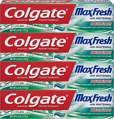 Purchase Colgate Max Fresh Whitening Toothpaste with Breath Strips, Clean Mint - 6 ounce (4 Pack) at Amazon.com