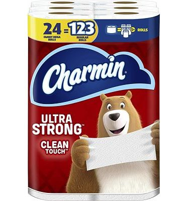 Purchase Charmin Ultra Strong Clean Touch Toilet Paper, 24 Family Mega Rolls (Equal to 123 Regular Rolls) at Amazon.com