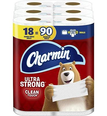 Purchase Charmin Ultra Strong Clean Touch Toilet Paper, 18 Family Mega Rolls (Equal to 90 Regular Rolls) at Amazon.com