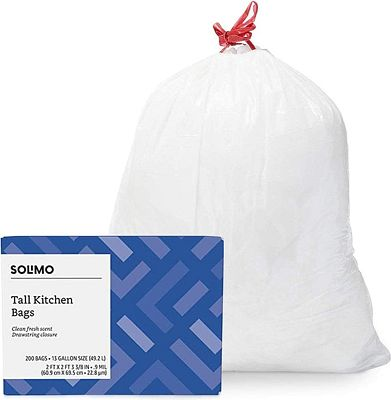 Purchase Amazon Brand - Solimo Tall Kitchen Drawstring Trash Bags, Clean Fresh Scent, 13 Gallon, 200 Count at Amazon.com
