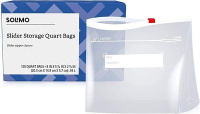 Purchase Amazon Brand - Solimo Slider Quart Food Storage Bags, 120 Count at Amazon.com