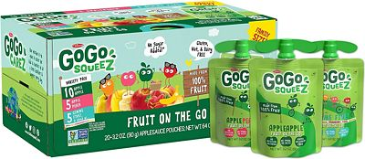 Purchase GoGo squeeZ Applesauce on the Go, Variety Pack (Apple Apple/Apple Peach/Apple GIMME 5), 3.2 Ounce (20 Pouches), Gluten Free, Vegan Friendly, Healthy Snacks, Unsweetened, Recloseable, BPA Free Pouches at Amazon.com