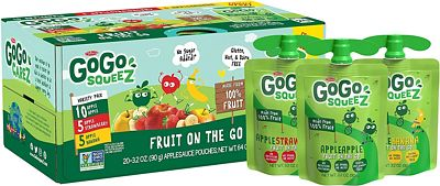 Purchase GoGo squeeZ Applesauce on the Go, Variety Pack (Apple Apple/Apple Banana/Apple Strawberry), 3.2 Ounce (20 Pouches), Gluten Free, Vegan Friendly, Healthy Snacks, Unsweetened, Recloseable BPA Free Pouch at Amazon.com