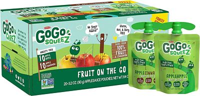 Purchase GoGo squeeZ Applesauce on the Go, Variety Pack (Apple Apple/Apple Cinnamon), 3.2 Ounce (20 Pouches), Gluten Free, Vegan Friendly, Healthy Snacks, Unsweetened, Recloseable, BPA Free Pouches at Amazon.com