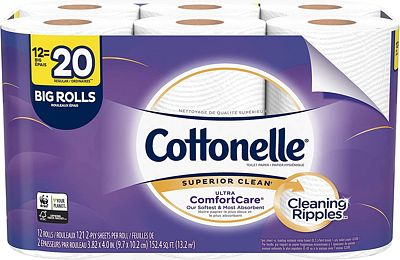 Purchase Cottonelle Ultra ComfortCare Toilet Paper, Soft Bath Tissue, Septic-Safe, 12 Big Rolls at Amazon.com