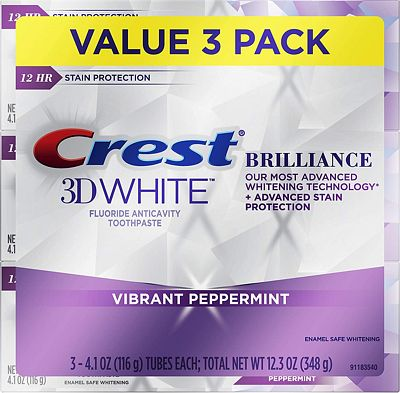 Purchase Crest Toothpaste 3D White Brilliance Vibrant Peppermint, 4.1oz (Pack of 3) at Amazon.com