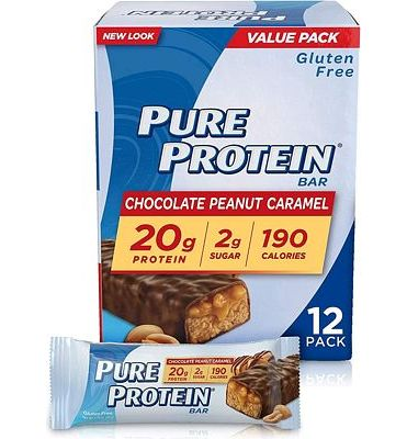 Purchase Pure Protein Bars, High Protein, Nutritious Snacks to Support Energy, Low Sugar, Gluten Free, Chocolate Peanut Caramel, 1.76oz, 12 Pack at Amazon.com