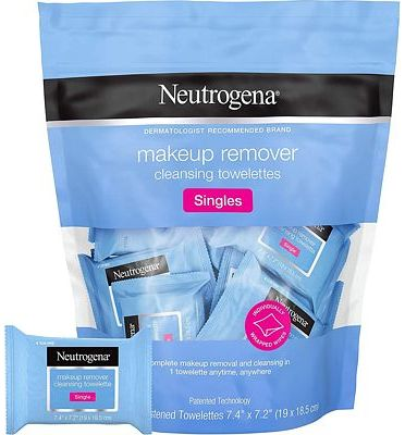 Purchase Neutrogena Makeup Remover Cleansing Towelette Singles, Daily Face Wipes To Remove Dirt, Oil, Makeup & Waterproof Mascara, Individually Wrapped, 20 Count at Amazon.com