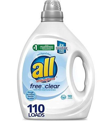 Purchase all Liquid Laundry Detergent, Free Clear for Sensitive Skin, 2X Concentrated, 110 Loads at Amazon.com