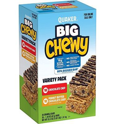 Purchase Quaker Big Chewy Granola Bars, 2 Flavor Variety Pack (36 Bars) at Amazon.com