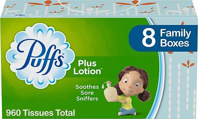 Purchase Puffs Plus Lotion Facial Tissues, 8 Family Boxes, 120 Tissues per Box at Amazon.com
