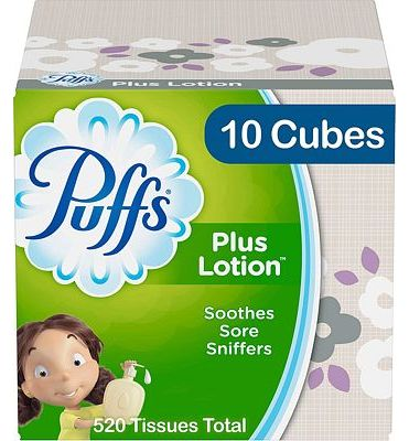 Purchase Puffs Plus Lotion Facial Tissues, 10 Cubes, 52 Tissues Per Box (520 Tissues Total) at Amazon.com