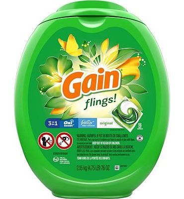 Purchase Gain flings! Laundry Detergent Pacs Plus Aroma Boost, Original Scent, HE Compatible, 96 Count at Amazon.com