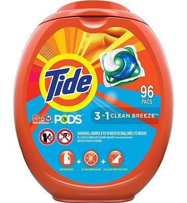 Purchase Tide PODS Laundry Detergent Liquid Pacs, Clean Breeze Scent, HE Compatible, 96 Count at Amazon.com