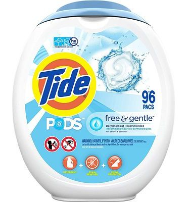 Purchase Tide PODS Free and Gentle Laundry Detergent, 96 Count, Unscented and Hypoallergenic for Sensitive Skin, Free and Clear of Dyes and Perfumes, HE Compatible at Amazon.com