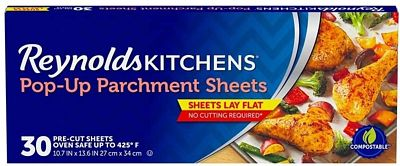 Purchase Reynolds Kitchens Pop-Up Parchment Paper Sheets, 10.7x13.6 Inch, 30 Count at Amazon.com