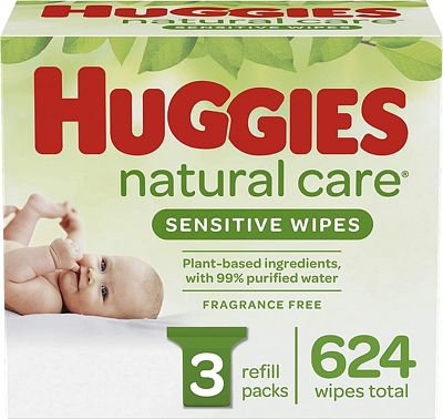 Purchase HUGGIES Natural Care Unscented Baby Wipes, Sensitive, 3 Refill Packs (624 Total Wipes) at Amazon.com