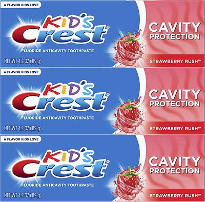 Purchase Crest Kid's Cavity Protection Fluoride Toothpaste, Strawberry Rush, 3 Count at Amazon.com