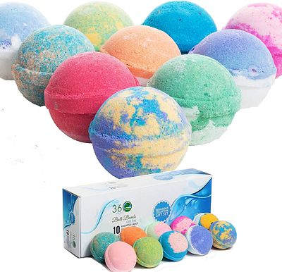 Purchase 360Feel Bath Bombs Gift Set 10 Large USA made -Made with Essential Oil -All Natural Organic Bath Fizzies- Gift ready box - Aromatherapy Organic Bath Bomb for Women Men and Kids - Gift ready box at Amazon.com
