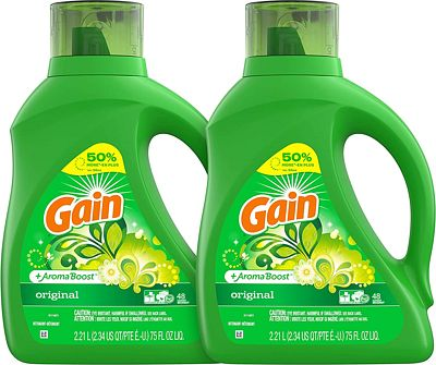 Purchase Gain Laundry Detergent Liquid Plus Aroma Boost, Original Scent, HE Compatible, 75 oz, Pack of 2, 96 Loads Total at Amazon.com