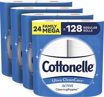 Purchase Cottonelle Ultra CleanCare Toilet Paper with Active CleaningRipples, Strong Biodegradable Bath Tissue, Septic-Safe, 24 Family Mega Rolls at Amazon.com