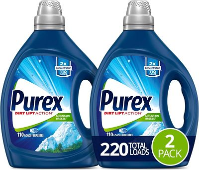 Purchase Purex Liquid Laundry Detergent, Mountain Breeze, 2X Concentrated, 2 Count, 220 Total Loads at Amazon.com