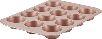 Purchase Farberware Nonstick Bakeware, Nonstick Muffin Pan / Cupcake Pan - 12 Cup, Rose Gold Red at Amazon.com