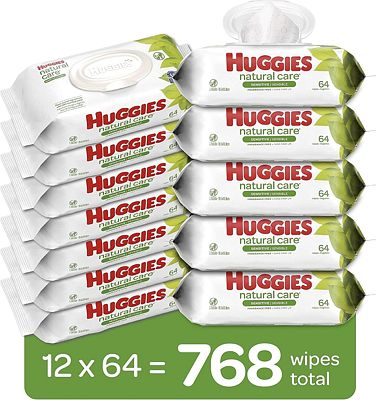 Purchase HUGGIES Natural Care Unscented Baby Wipes, Sensitive, Water-Based, 12 Total Flip Top Packs, 768 Count at Amazon.com
