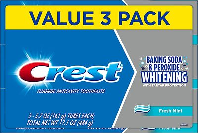 Purchase Crest Cavity & Tartar Protection Toothpaste, Whitening Baking Soda & Peroxide, 5.7 oz, Pack of 3 at Amazon.com