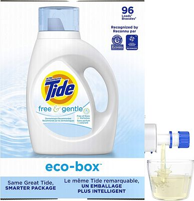 Purchase Tide Free and Gentle Ultra Concentrated Liquid Laundry Detergent eco-box, HE Compatible, 105 fl oz, 96 loads at Amazon.com