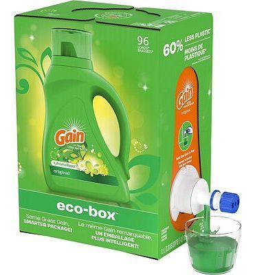 Purchase Gain Liquid Laundry Detergent eco-Box, Original Scent, HE Compatible, 105 fl oz, 96 Loads at Amazon.com