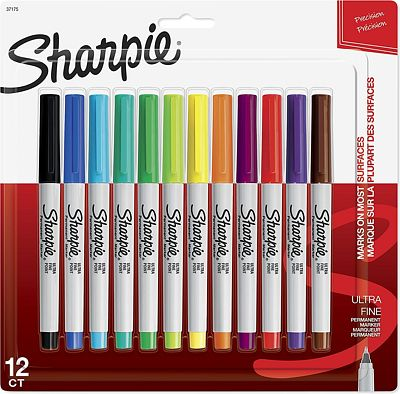 Purchase Sharpie 37175 Permanent Markers, Ultra-Fine Point, Assorted Colors, 12-Count at Amazon.com