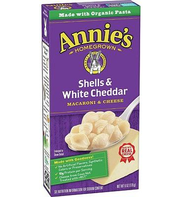 Purchase Annie's Macaroni and Cheese, Shells & White Cheddar Mac and Cheese, 6 Ounce, Pack of 12 at Amazon.com
