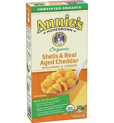 Purchase Annie's Organic Shells & Real Aged Cheddar Macaroni & Cheese, 12 Boxes, 6oz (Pack of 12) at Amazon.com