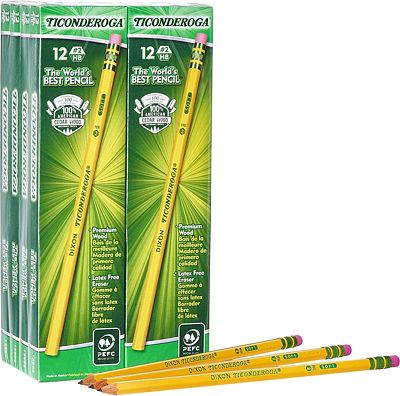 Purchase Ticonderoga Pencils, Wood-Cased, Graphite #2 HB Soft, Yellow, 96-Pack at Amazon.com