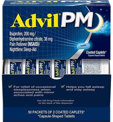 Purchase Advil PM Pain Reliever/Nighttime Sleep Aid Coated Caplet, 200mg Ibuprofen - 50 Packs at Amazon.com