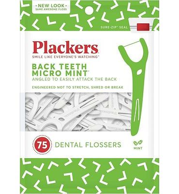 Purchase Plackers Back Teeth Micro Mint Dental Floss Picks, 75 Count at Amazon.com