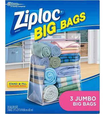 Purchase Ziploc Storage Bags, Double Zipper Seal & Expandable Bottom, Jumbo, 3 Count, Big Bag at Amazon.com