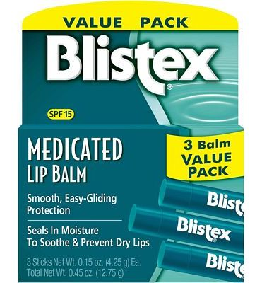 Purchase Blistex Medicated Lip Balm, 0.15 Ounce (Pack of 3) at Amazon.com
