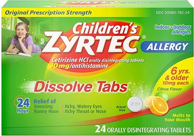 Purchase Children's Zyrtec 24 HR Dissolving Allergy Tablets, Cetirizine, Citrus Flavor, 24 ct at Amazon.com