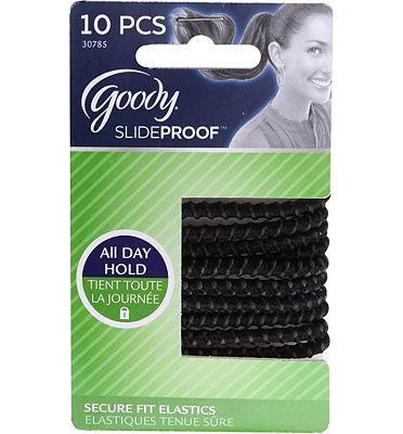 Purchase Goody Slide Proof Stayput Black Hair Elastics, 4 mm, 10 Count at Amazon.com