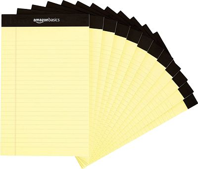 Purchase AmazonBasics Narrow Ruled 5 x 8-Inch Writing Pad - Canary (50 Sheet Paper Pads, 12 pack) at Amazon.com