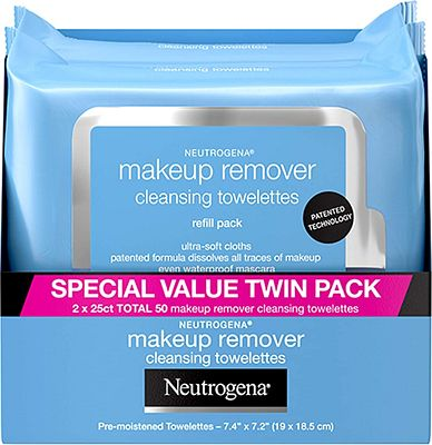 Purchase Neutrogena Makeup Removing Wipes, 25 Count, Twin Pack at Amazon.com