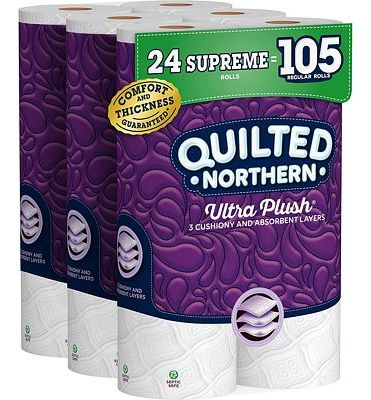 Purchase Quilted Northern Ultra Plush Toilet Paper, 24 Supreme Rolls, 319 3-Ply Sheets Per Roll at Amazon.com