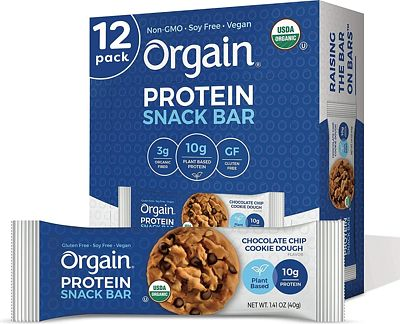 Purchase Orgain Organic Plant Based Protein Bar, Chocolate Chip Cookie Dough - Vegan, Gluten Free, Non Dairy, Soy Free, Lactose Free, Kosher, Non-GMO, 1.41 Ounce, 12 Count at Amazon.com