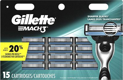Purchase Gillette Mach3 Men's Razor Blade Refills, 15 Count at Amazon.com